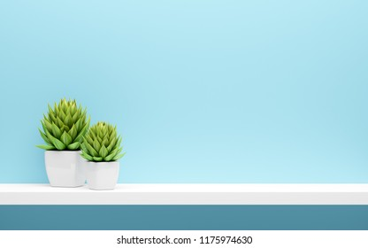 white shelf on blue wall with green potted plants mock up. 3d illustration