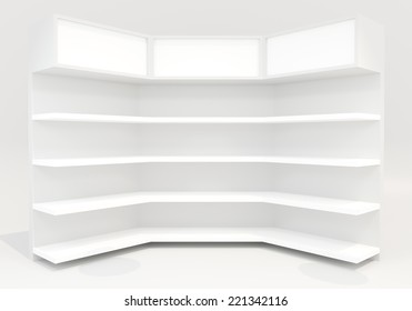 White shelves design on white background