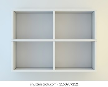White shelves for show case. 3D rendering