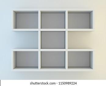White shelves for show case. 3D rendering