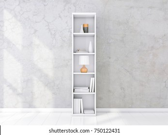 White shelving unit with books and decor in interior, concrete wall, bookshelf mockup, 3d rendering