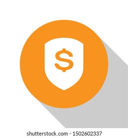 White Shield and dollar icon isolated on white background. Security shield protection. Money security concept. Orange circle button. Flat design