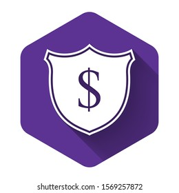 White Shield and dollar icon isolated with long shadow. Security shield protection. Money security concept. Purple hexagon button