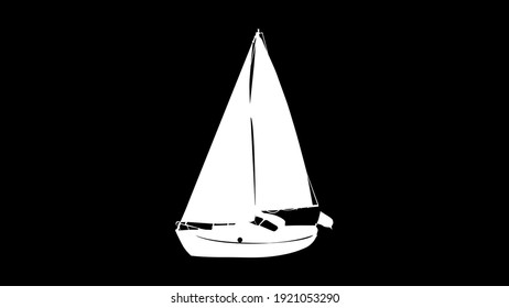 White ship has a painted sail with white background