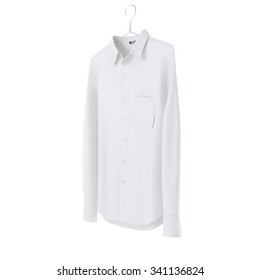 White shirt with hanger on white background