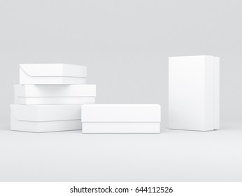 White shoe boxes packaging Mockup, for your design and branding, 3d rendering