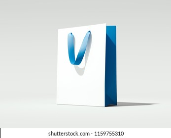 White shopping bag with blue handles isolated on white background, 3d rendering.