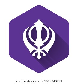 White Sikhism religion Khanda symbol icon isolated with long shadow. Khanda Sikh symbol. Purple hexagon button