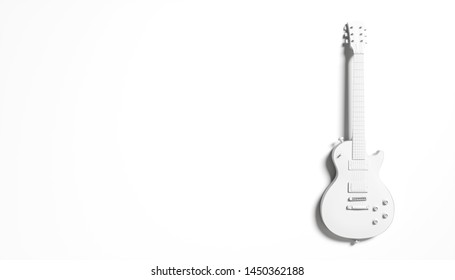 white silhouette of a guitar on a white background abstraction, 3d illustration
