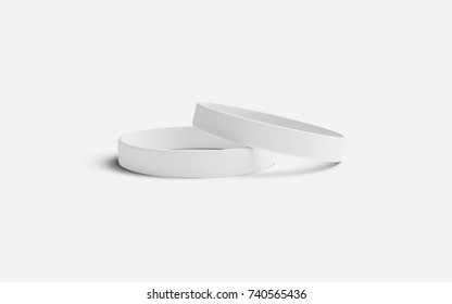 White silicone rubber wristband. Blank promo 3d model, for hand. Illustration with white background