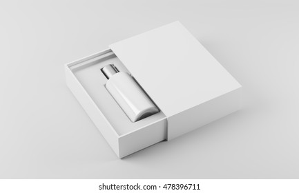 White and silver bottle of perfume in white box against white background. Concept of new scent promotion. 3d rendering. Mock up