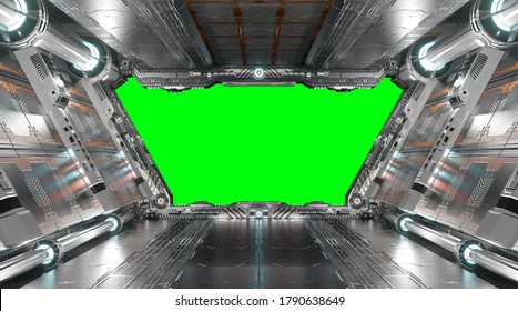 White and silver futuristic spaceship interior with green window screen 3d rendering