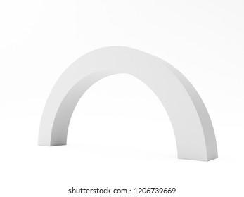 White Simple Arc Element. 3D render