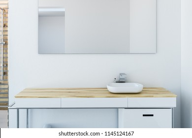 White sink vanity unit standing in a white wall room with a concrete floor, A panoramic window and a large mirror on the wall. close up 3d rendering