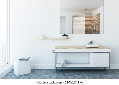White sink vanity unit standing in a white wall room with a concrete floor, A panoramic window and a large mirror on the wall. 3d rendering mock up