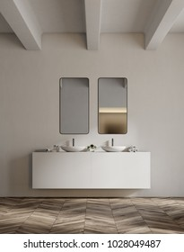 White sink vanity unit with two vertical mirrors in a white bathroom interior with a wooden floor. 3d rendering, mock up