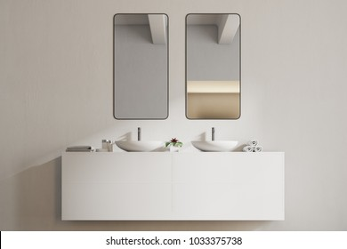 White sink vanity unit with two vertical mirrors in a white bathroom interior. 3d rendering, mock up
