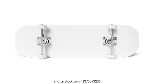 White Skateboard isolated on white background mockup 3D rendering