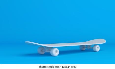 2ed7ea2c White skateboard on bright blue background in pastel colors. Minimalism  concept. 3d render illustration