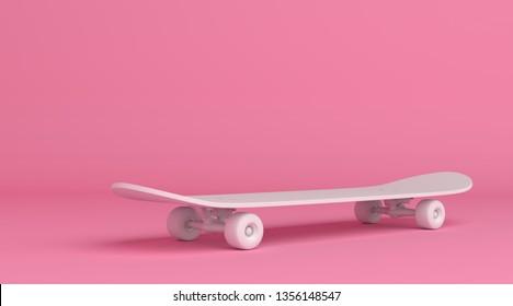 8324ba17 White skateboard on bright pink background in pastel colors. Minimalism  concept. 3d render illustration