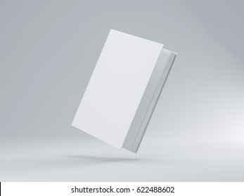 White Slightly open Book Mockup with hard textured cover, 3d rendering