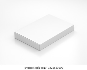 White slim Box packaging Mockup in light studio. 3d rendering