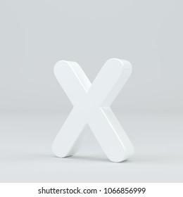 White small letter X on studio light background. 3d rendering.