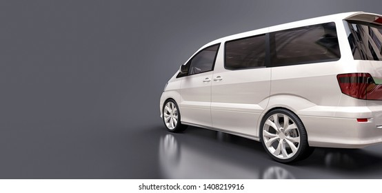 White small minivan for transportation of people. Three-dimensional illustration on a glossy gray background. 3d rendering.