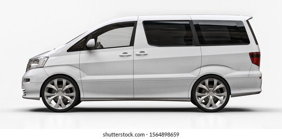 White small minivan for transportation of people. Three-dimensional illustration on a glossy white background. 3d rendering.