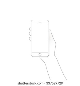 White smart phone blank screen mock up holding in businessman hand. Mockup of smartphone empty display isolated. Cellphone space monitor mock-up hold in hand line art. Show business tel.