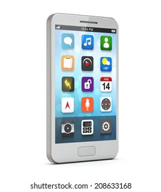 white smartphone with apps on the screen isolated white background include clipping path