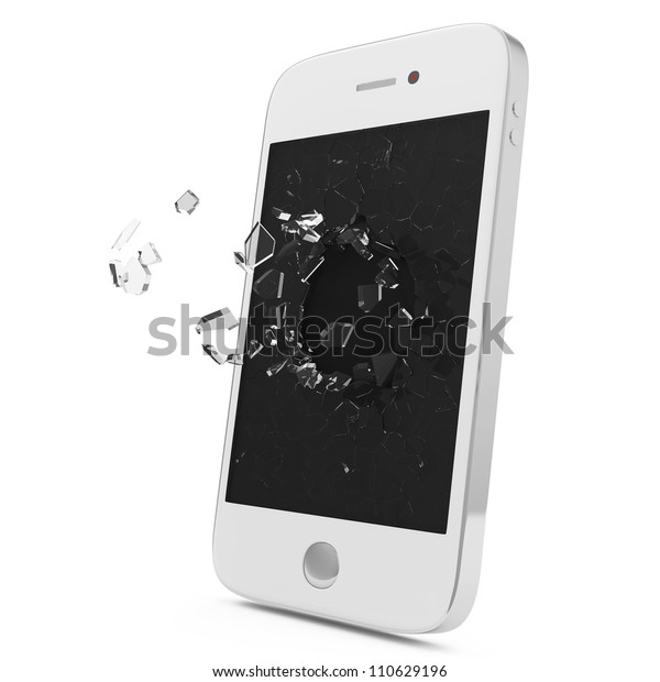 White Smartphone with Broken Display isolated on white background