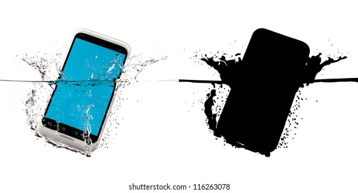 The white smartphone fallen in water. 3D-model. Black mask.