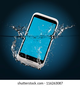 The white smartphone fallen in water. 3D-model.