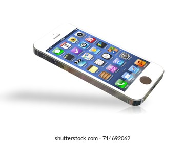 White Smartphone Mockup with Icons Screen for Design Project - Mock Up 3D illustration Isolate on White Background