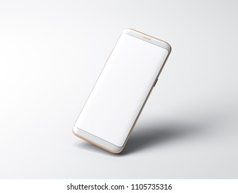 White Smartphone mockup on gray background, 3d rendering