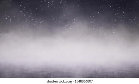 White smoke over dark water 3d render. Creepy Halloween night concept. Fog covering lake surface at nighttime. Tranquil misty pond under starry sky
