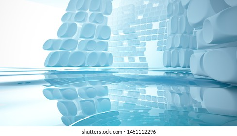 White smooth abstract architectural background with water. 3D illustration and rendering