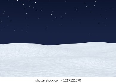 White snow field with smooth snow surface under dark blue night sky with stars, winter snow background 3d illustration
