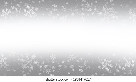 White Snow flake in Christmas holiday on grey gradients background.