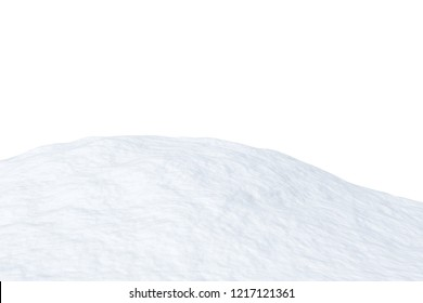 White snow hill isolated on white background closeup view, 3d illustration
