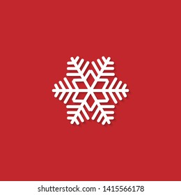 White snowflake isolated on red background. Snowflake icons. Snowflake for design Christmas and New Year banner and cards. Raster version.