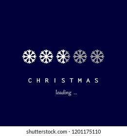 white snowflakes christmas loading on the dark blue background square,  ilustration