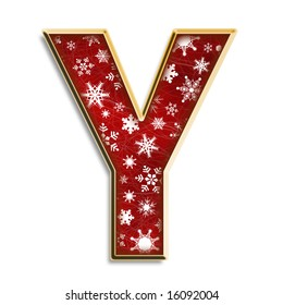 White snowflakes on red with gold capital letter Y isolated on white