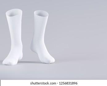 White socks, socks mockup 3d rendering illustration