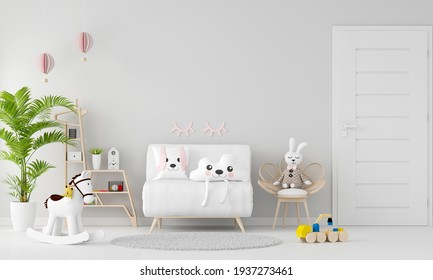 White sofa in child room interior with copy space, 3D rendering