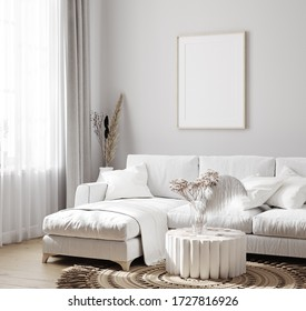 White sofa with decor and mockup frames on wall in Scandinavian style interior, 3d render