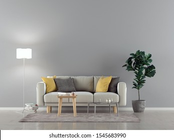 White sofa in a empty room with lamp and a wall in background