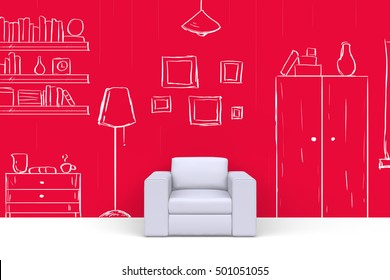 White soft chair in room with hand drawn painted on red wall picture frames, bookcase, lamp, cupboard, shelves, books, vase. Front view. 3D render.