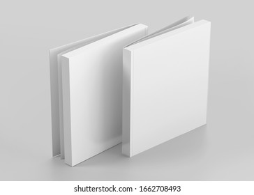 White Soft Cover Square Book Mockup, Blank notebook, 3d rendering isolated on light gray background, ready for your design